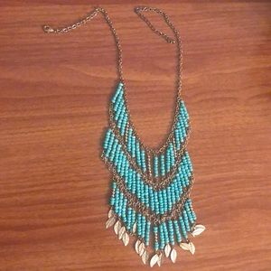 Layered turquoise & gold necklace